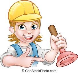 Plumber Woman Holding Plunger - A plumber handyman cartoon...