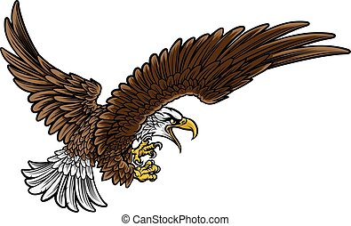 Eagle Swooping - A bald or American eagle swooping in...