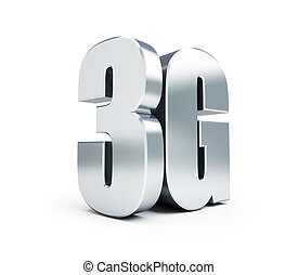 3G metal sign, 3G cellular high speed data wireless connection. 3d Illustrations on white background