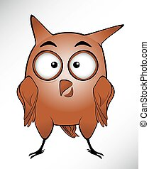 funny owl with long ears and big eyes