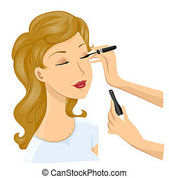 Girl Make Up - Applying Liquid Eyeliner with Clipping Path