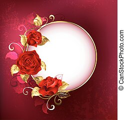 Round banner with red roses - Round white banner with red...