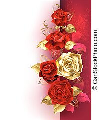 Design with red roses - Design with red and gold roses on a...