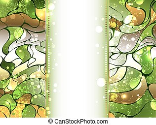 Greenery gem background - Abstract precious, gold and green,...