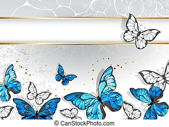 Narrow banner with butterflies morpho