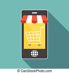 Vector smart phone with shopping cart and world button, business and e commerce concept, flat design