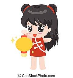Cartoon Chinese girl  with lantern, flat design