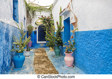 Rabat - Typical houses on a street in the Udayas...