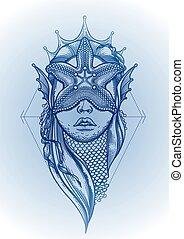 Graphic mermaid head
