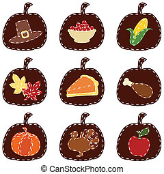 Set of quilted Thanksgiving icons - Nine thanksgiving themed...