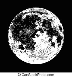 Graphic full moon - Graphic moon isolated on black...
