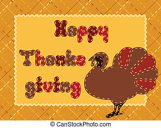 Thanksgiving card with turkey - Cute postcard with a...