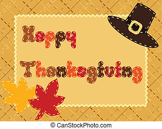 Thanksgiving card with pilgrim hat - Cute postcard with a...