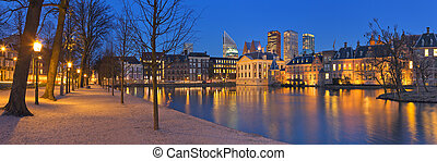The Binnenhof in The Hague, The Netherlands at night - The...