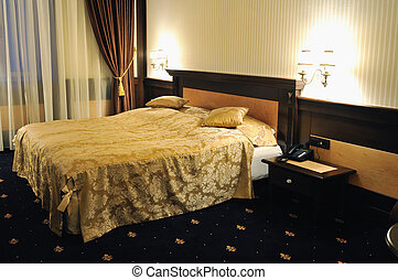 hotel room - modern hotel room appartment indoor with double...