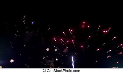 Fireworks Celebration in the Sky. Slow Motion - Fireworks...