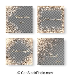 Set glow on a transparent background - Set with golden...