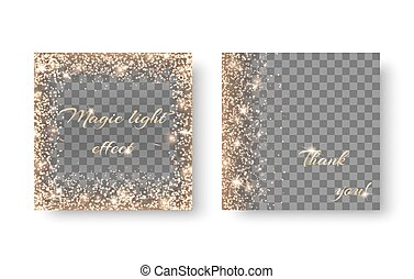 Set shine on a transparent background - Set with golden...