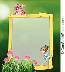 Frame design with two fairies
