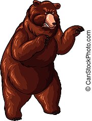 Grizzly bear with sharp paws illustration