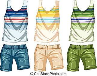 Fashion design for tanktop and shorts illustration