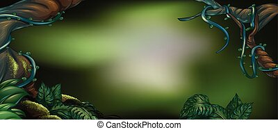 Rainforest background with green leaves