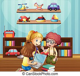 Kids working in group at home illustration
