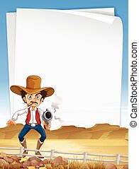 Paper template with cowboy shooting gun