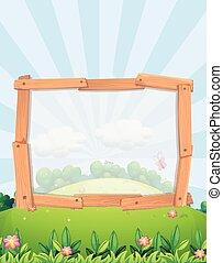 Frame design with park background