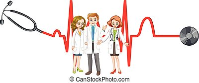 Three doctors and stethoscope