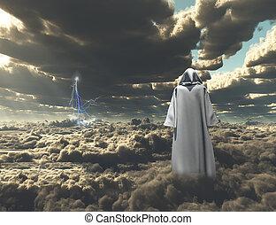 Pilgrim - Figure in cloak stands on field of clouds.
