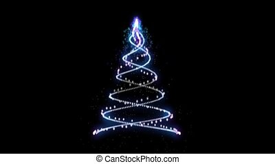 Light Christmas tree animation graphics on a black...