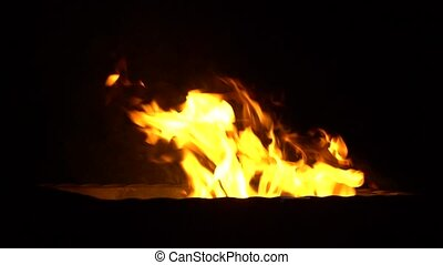 Fire burns in slow action 4K