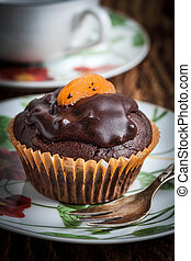 Freshly baked chocolate muffins. - Tasty and fresh -...