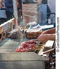 Grilling Kabobs in Market - Grilling Kabobs in Vancouver...