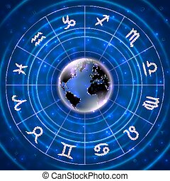 Pearl signs of the zodiac with globe background -...