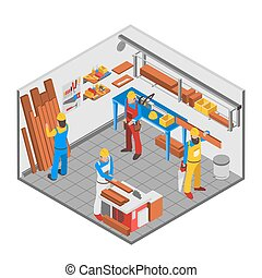 Woodwork People Concept - Woodwork people isometric concept...