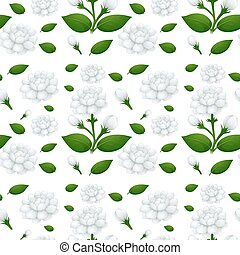 Seamless background design with jasmine flowers illustration