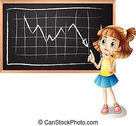 Girl explaining line graph illustration