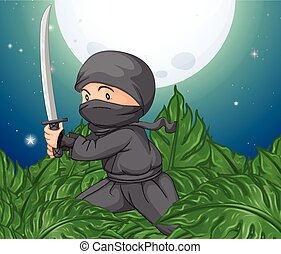 Ninja holding sword in the bush