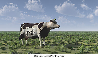 Cow with poison sign.