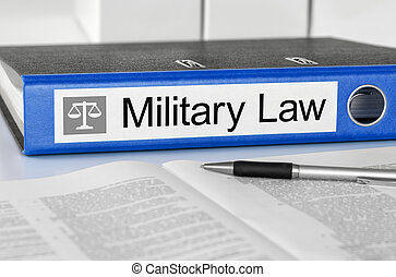 Blue folder with the label Military Law