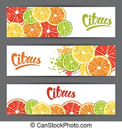 Banners with citrus fruits slices. Mix of lemon lime...