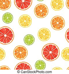 Seamless pattern with citrus fruits slices. Mix of lemon...