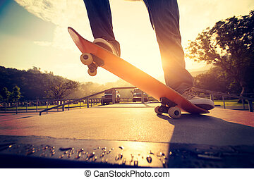 Practice skateboarding  at skatepark