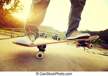 Practice skateboarding  at skatepark