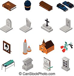 Funeral Isometric Icons Set - Funeral isometric icons set of...