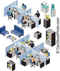Cubicle Office Workplaces Set - Isolated isometric cubicle...