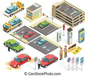 Parking Isometric Elements Set - Parking isometric elements...