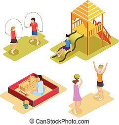 Isometric Playground Icon Set - Colored isometric playground...